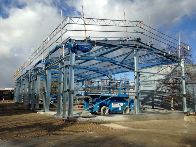 Steelwork for storage units in Penistone installed prior to roof installation.JPG